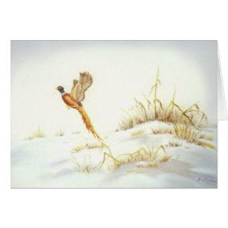 Cartão Faisão na pintura a óleo nevado da paisagem