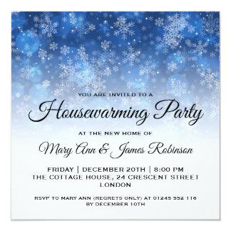 Cartão Faísca azul do feriado do partido do Housewarming