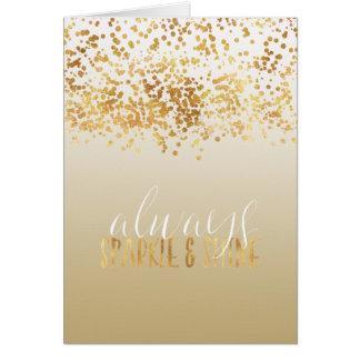 Cartão Faísca de Ombre dos confetes do ouro