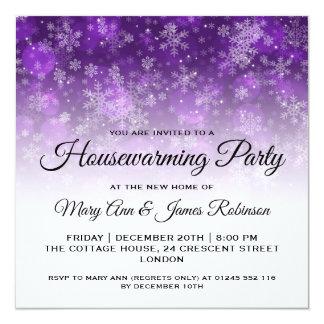 Cartão Faísca roxa do feriado do partido do Housewarming