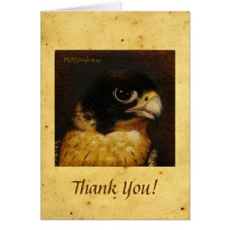 Cartão Falcão de peregrino no pergaminho - obrigado notar