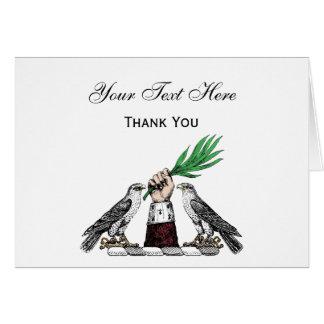 Cartão Falcons heráldicos do vintage com o emblema da
