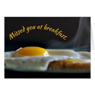 Cartão Faltado lhe no pequeno almoço