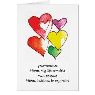 Cartão Faltando o corações