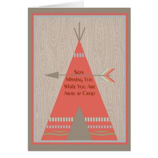 Cartão Faltando o filho quando no acampamento de Verão