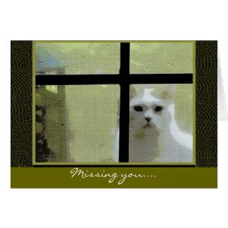 Cartão Faltando o - gato na janela