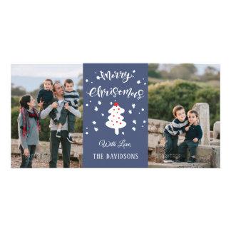 Cartão Família azul do Natal