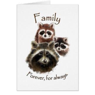 Cartão Família bonito do guaxinim, para sempre e sempre,