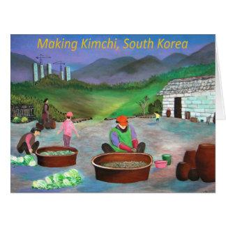 Cartão Família coreana que faz o 김치 de Kimchi