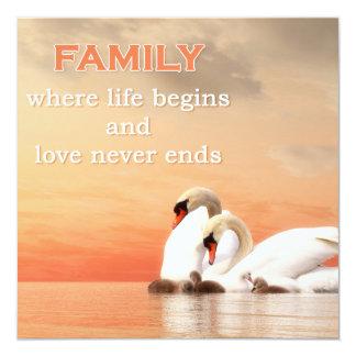 Cartão Família da cisne