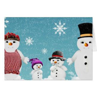Cartão Família do boneco de neve do Feliz Natal