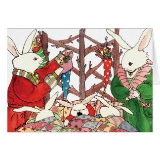 Cartão Família do coelho do Natal