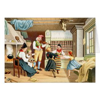 Cartão Família escandinava tradicional