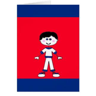 Cartão Família média da vara do menino