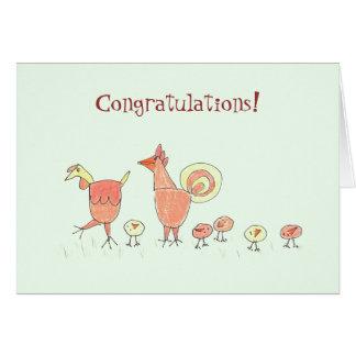 Cartão Família nova da galinha do bebê