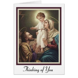 Cartão Família santamente St Joseph, Mary, Jesus