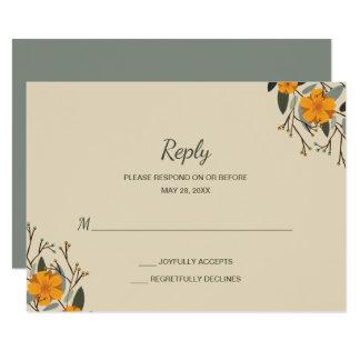 Cartão Famílias misturadas RSVP Wedding floral bege
