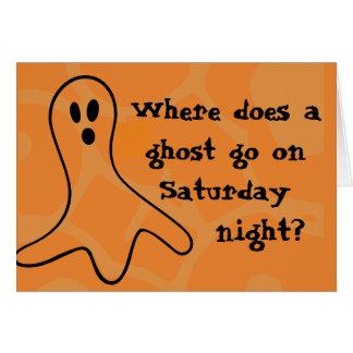 Cartão Fantasma do Dia das Bruxas do crivo
