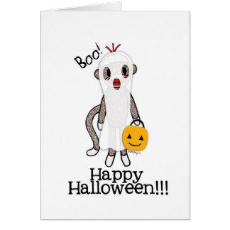 Cartão Fantasma do Dia das Bruxas do macaco da peúga