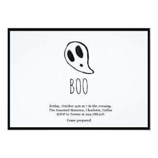 Cartão Fantasma minimalista do Dia das Bruxas preto e