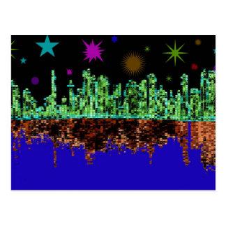 Cartão fantástico da skyline da cidade