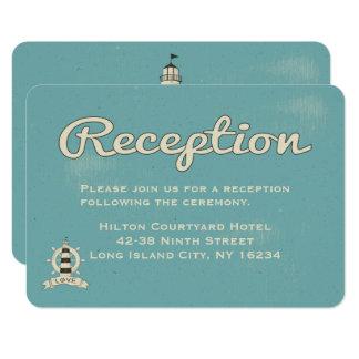 Cartão Farol azul náutico da recepção de casamento