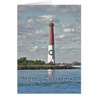 Cartão Farol de Barnegat do Natal