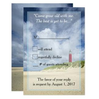 Cartão Farol na praia RSVP Wedding ocasional