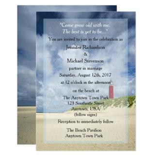 Cartão Farol no casamento ocasional da praia