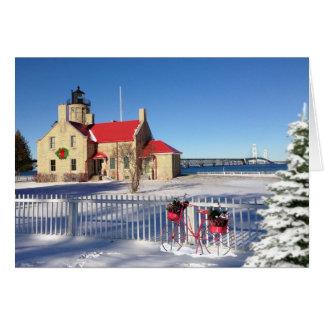 Cartão Farol velho do ponto de Mackinac do Natal de