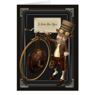 Cartão Farthing Steampunk Notecards da moeda de um