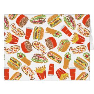 Cartão Fast food colorido da ilustração do teste padrão