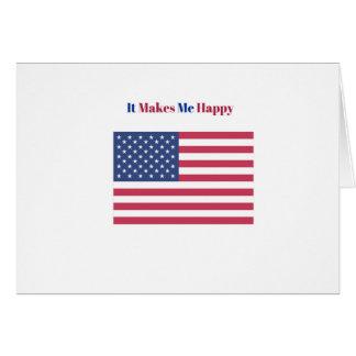 Cartão Faz-me a bandeira americana feliz