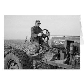 Cartão Fazendeiro que conduz Trator, 1937