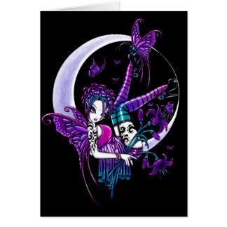Cartão feericamente da arte da lua da borboleta do