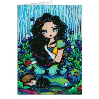 Cartão feericamente da arte da menina da fantasia