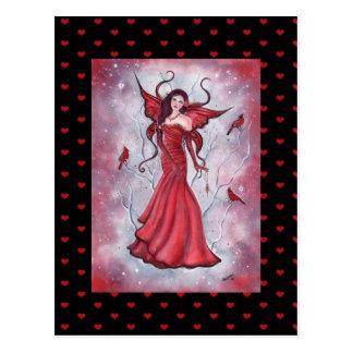 Cartão feericamente vermelho dos namorados por