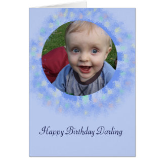 Cartão Cartão feito sob encomenda azul da foto do feliz