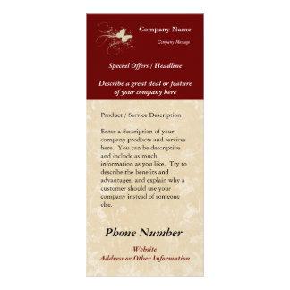 Cartão feito sob encomenda da cremalheira, borbole 10.16 x 22.86cm panfleto