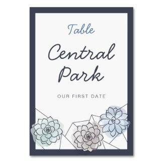 Cartão feito sob encomenda da mesa do casamento do