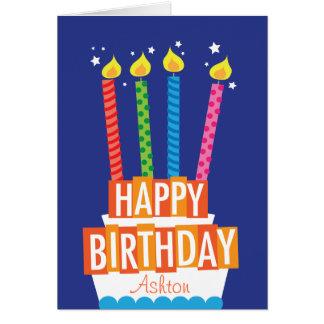 Cartão feito sob encomenda do bolo de aniversário