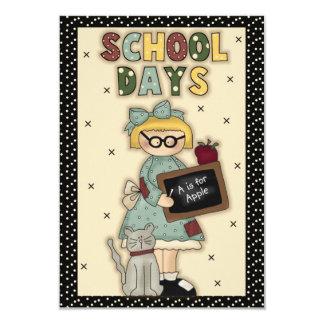 Cartão feito sob encomenda dos dias escolares convite 8.89 x 12.7cm