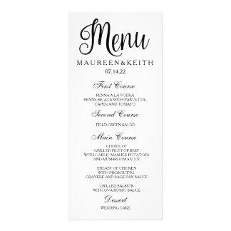 Cartão feito sob encomenda preto e branco do menu