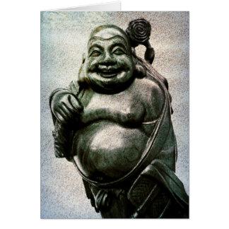 Cartão Felicidade & abundância de riso de Buddha