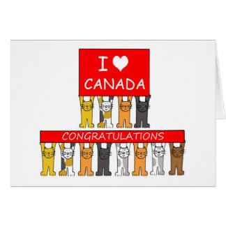 Cartão Felicitações canadenses da cidadania