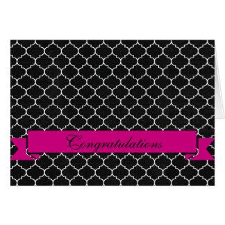 Cartão Felicitações cor-de-rosa brancas pretas elegantes