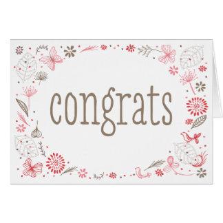 Cartão Felicitações cor-de-rosa macia de florescência do