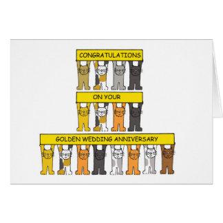 Cartão Felicitações do aniversário de casamento dourado