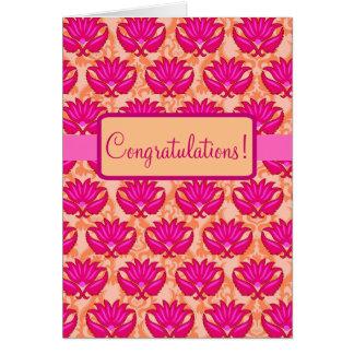 Cartão Felicitações parisienses alaranjadas cor-de-rosa