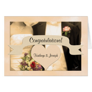 Cartão Felicite o casal do Sepia dos noivos